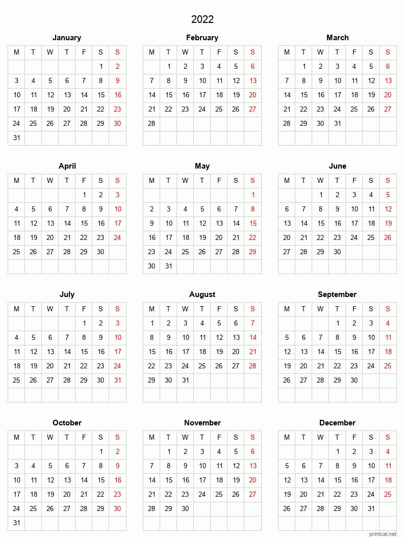 Download printable pdf of the 2023 calendar printable year planner 2023 with week numbers, portrait page orientation. Printable Yearly Calendar 2022, Full-year | Free Printable ...