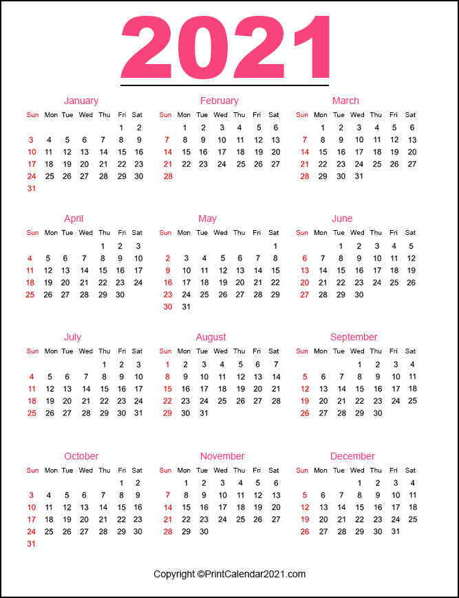Portrait) on one page in easy to print pdf format. Printable 2021 Calendar by Month