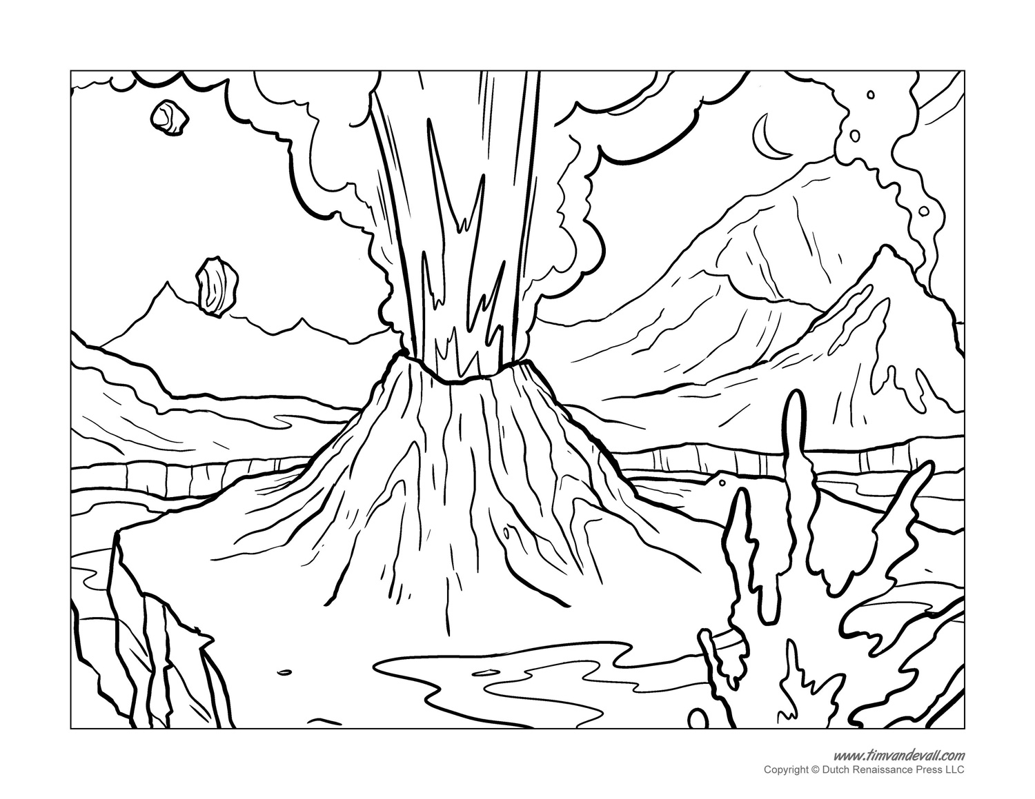 12 Kids Coloring Pages Volcano