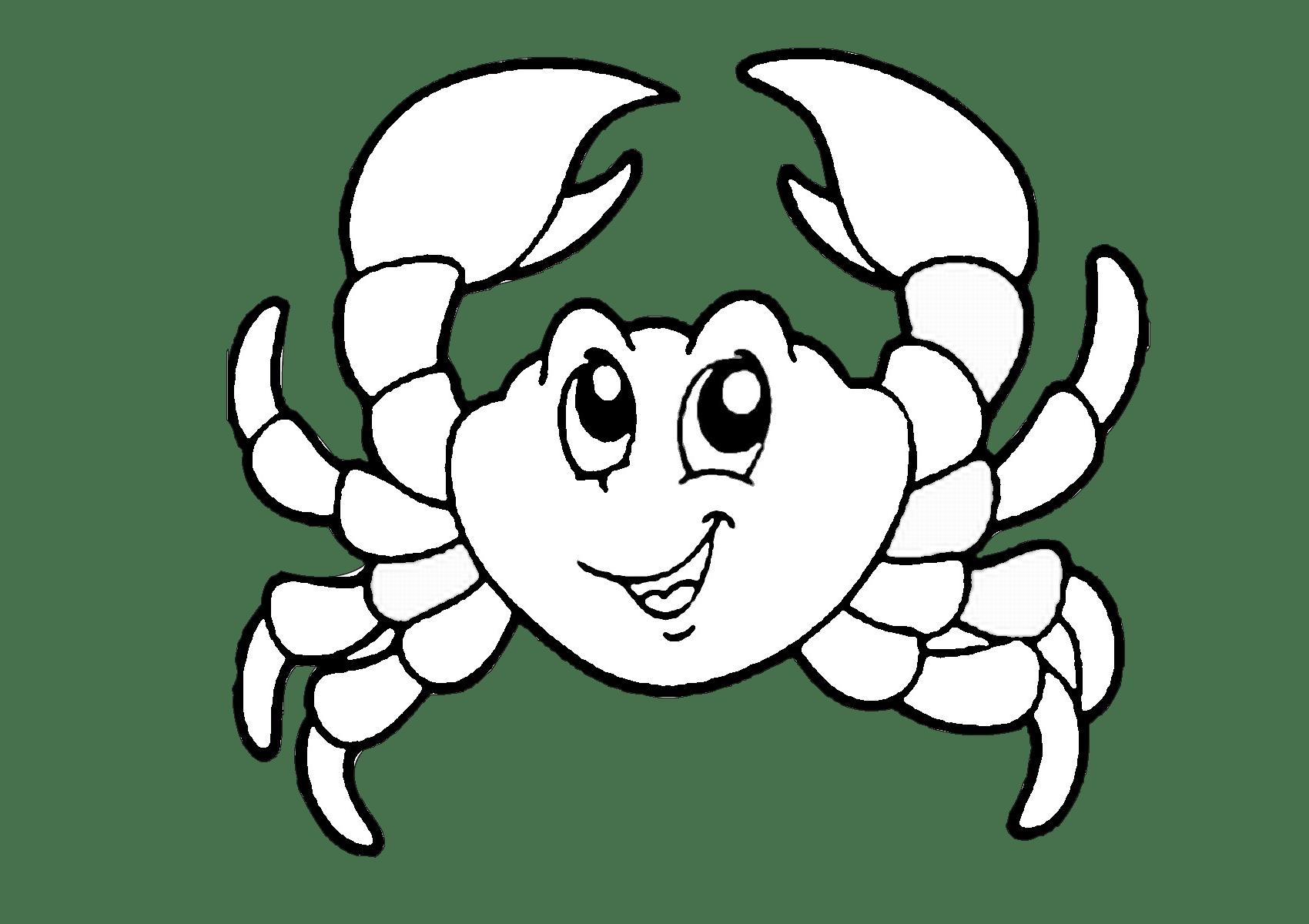 Printable Easy Cartoon Crab Coloring Pages For Preschool