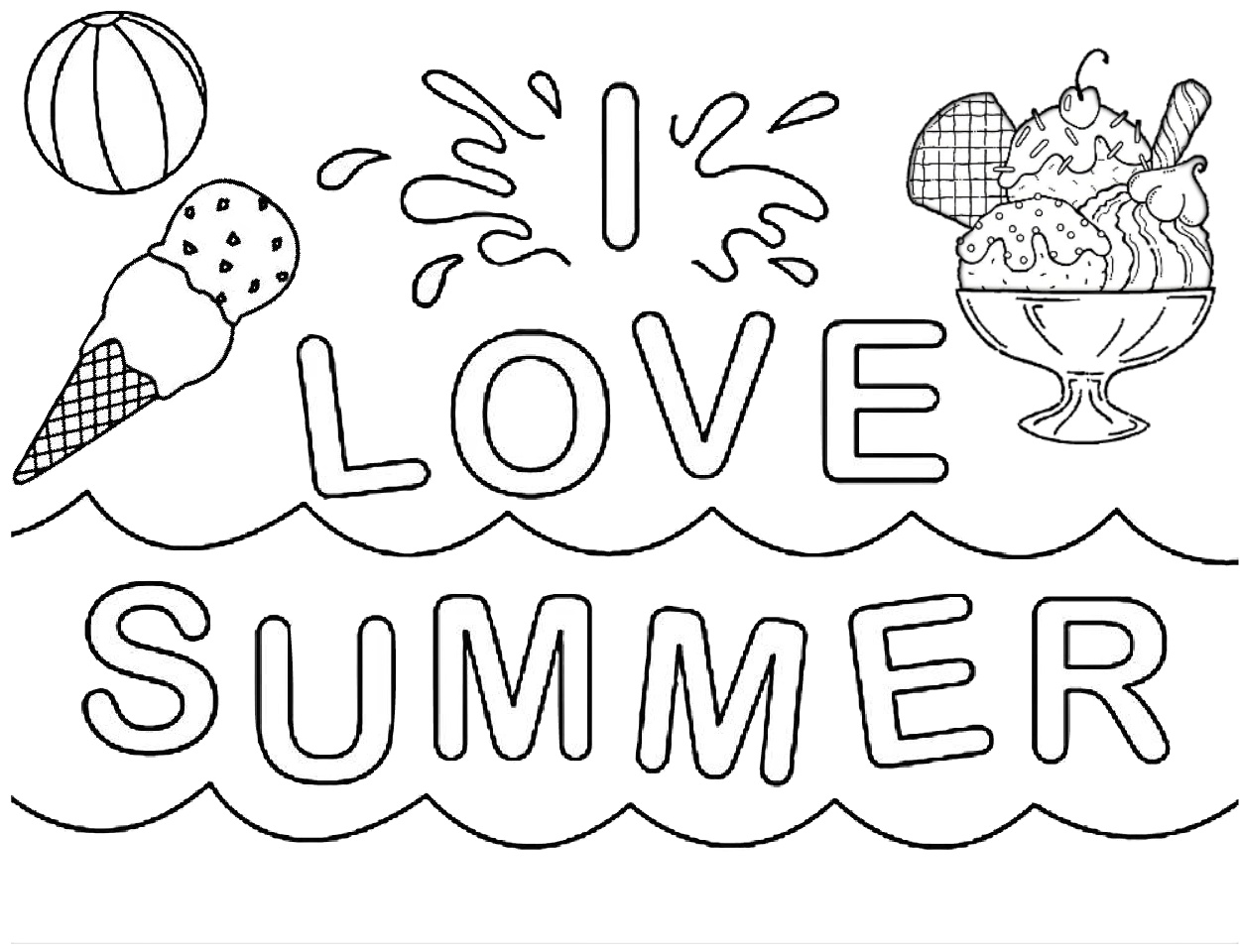 I Love Summer Easy Coloring Pages For Kids