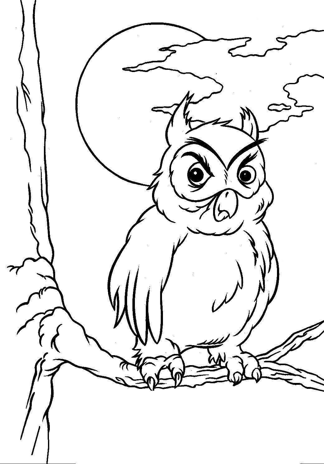 Angry Owl Coloring Page For Halloween Activities
