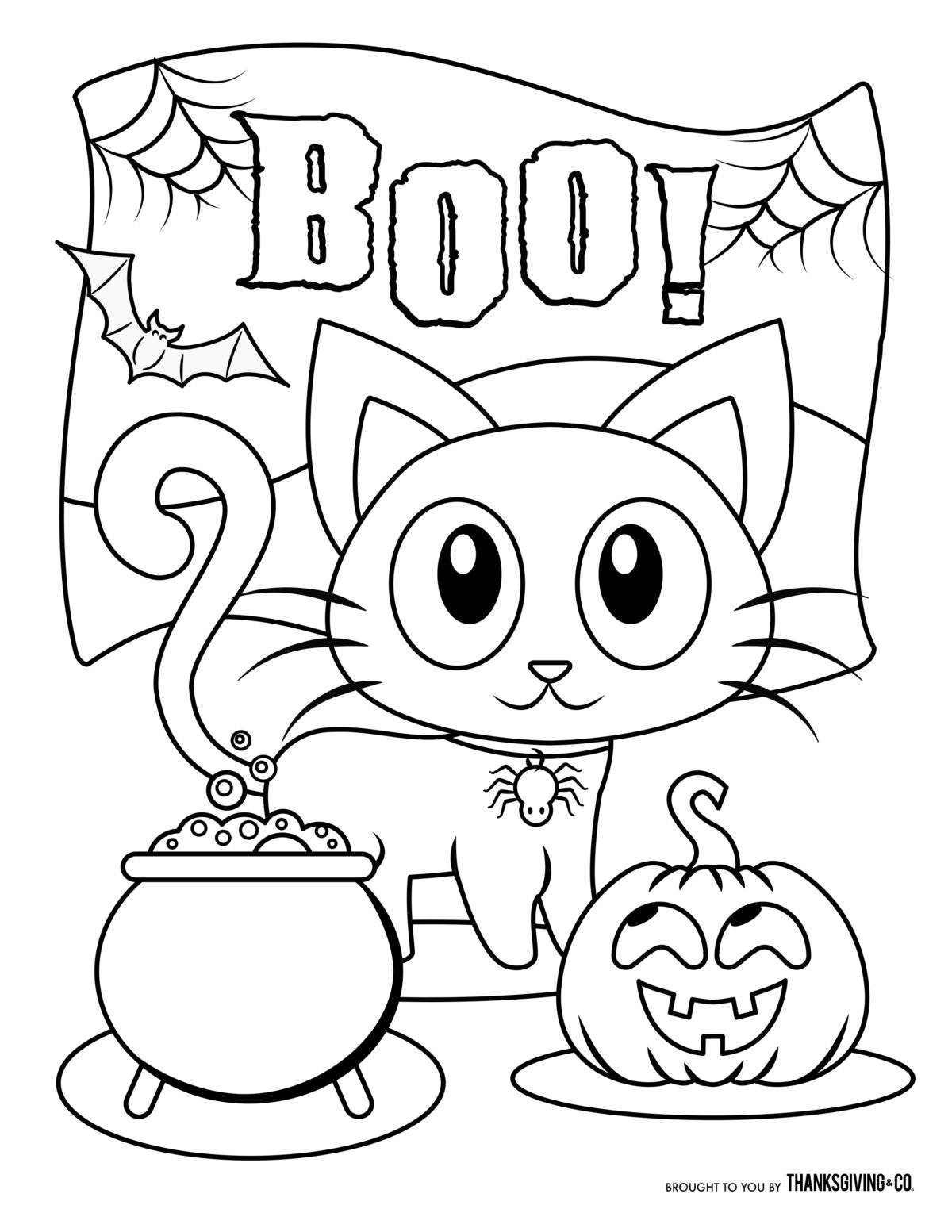 Small Kitten On Treat Table Boo Coloring Book Pages