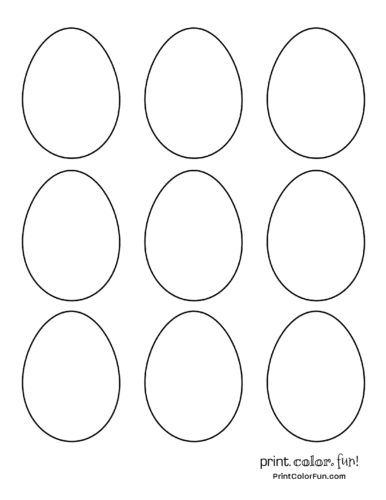 9 blank eggs to color in for Easter coloring page Print