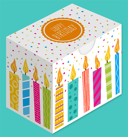 Birthday Cut Out Gift Box With Candle Design Coloring Page