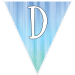 Blue-green striped party decoration flags with white letters 4