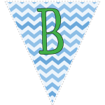 Blue zig-zag party decoration flags with green letters 2