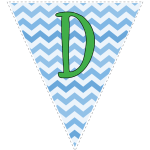 Blue zig-zag party decoration flags with green letters 4