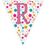 Bright polka dot decoration flags with pink letters 6