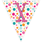 Bright polka dot decoration flags with pink letters 128