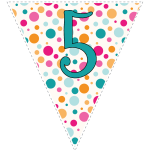 Bright polka dot decoration flags with teal letters 11