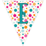 Bright polka dot decoration flags with teal letters