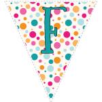 Bright polka dot decoration flags with teal letters 6