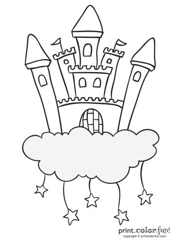 Castle in the clouds with stars