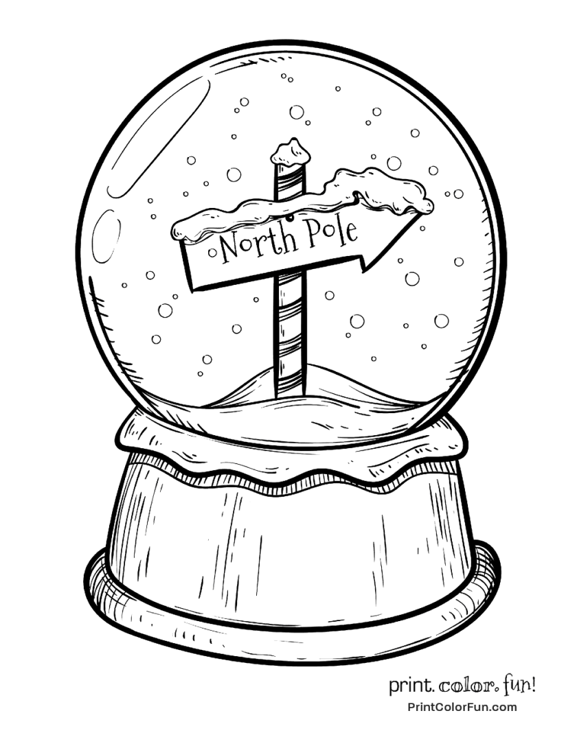 christmas snow globe  north pole sign coloring page