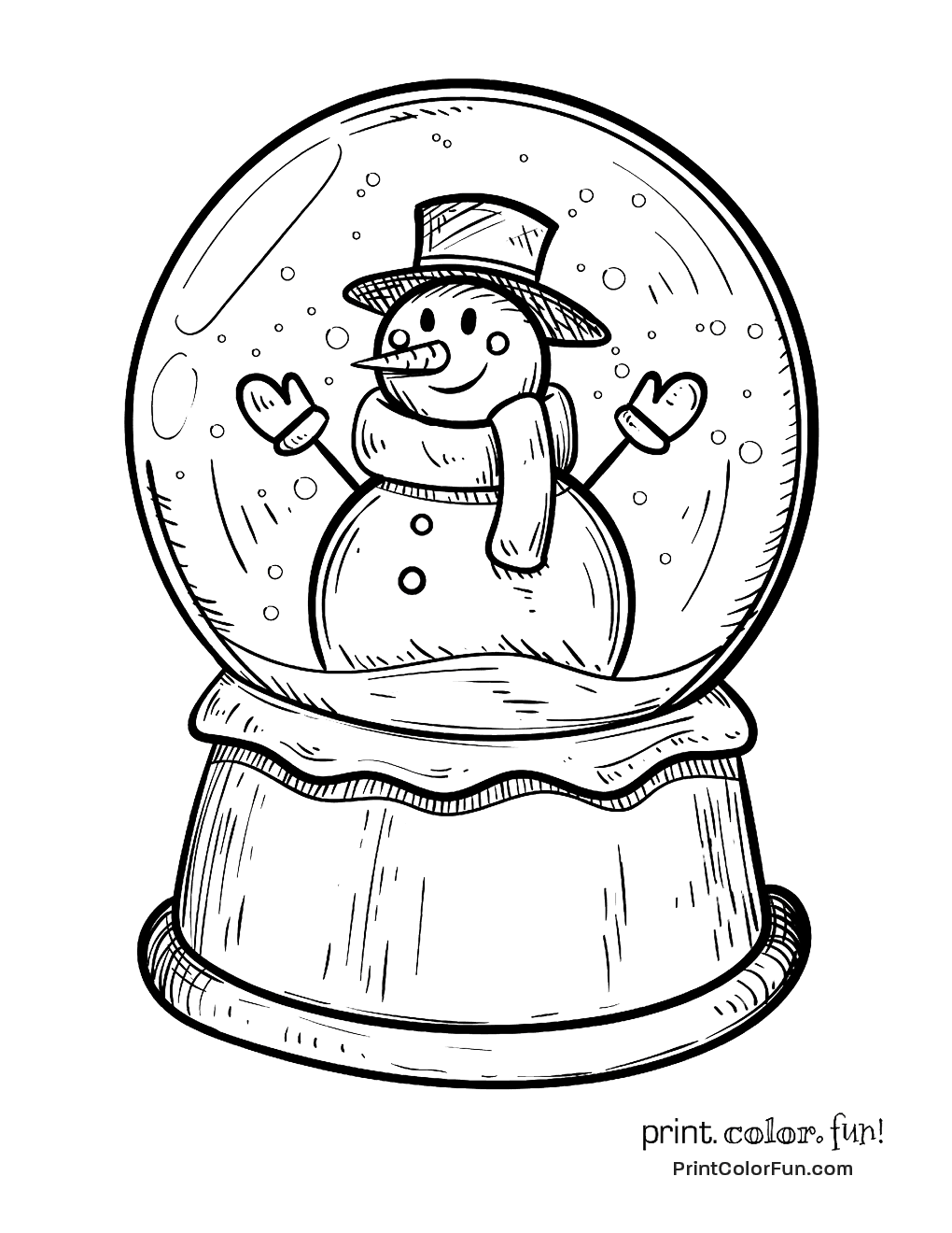 Winter snow globe with snowman coloring page - Print ...