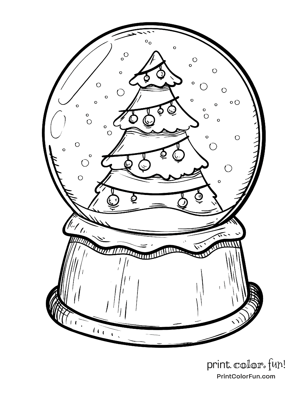 globe coloring page - snow globe with a christmas tree coloring page print