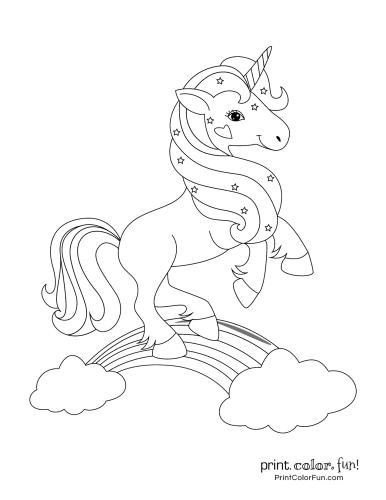 Cute unicorn on a rainbow