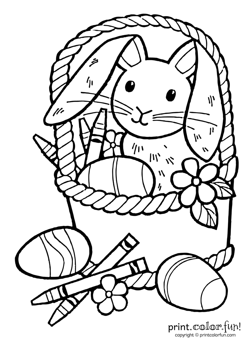 Easter bunny with crayons coloring page - Print. Color. Fun!