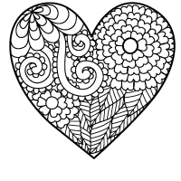 Flowery heart coloring