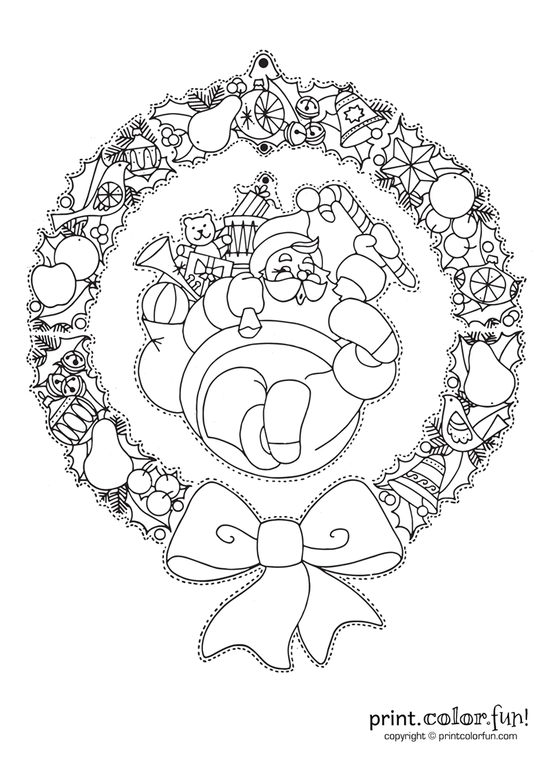 Hanging Christmas Wreath With Santa Coloring Page