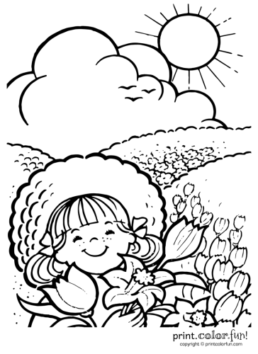 Enjoying A Sunny Day Coloring Page Print Color Fun