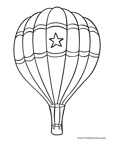 Hot air balloon with a star