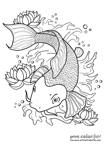 koi fish coloring pages Koi fish in a pond coloring page   Print. Color. Fun! koi fish coloring pages