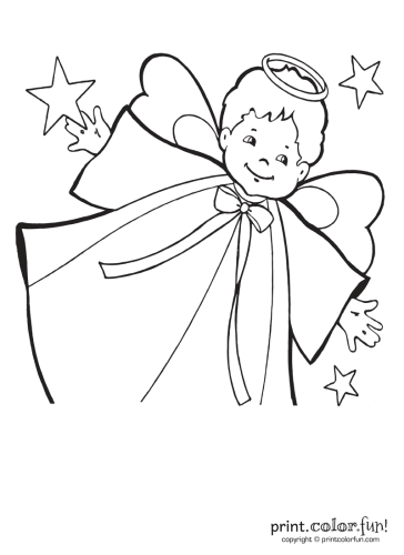 Little-boy-angel-with-stars