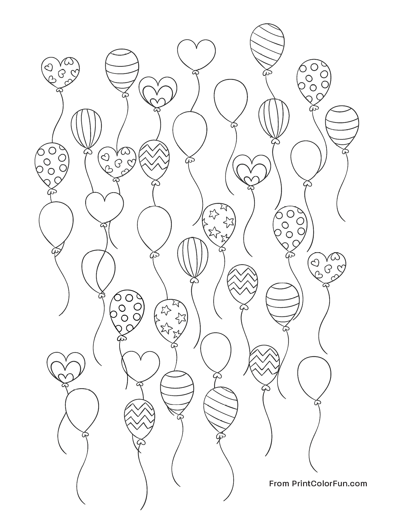 Lots Of Party Balloons Coloring Page
