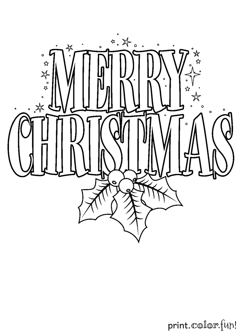 Merry Christmas Sign Coloring Page