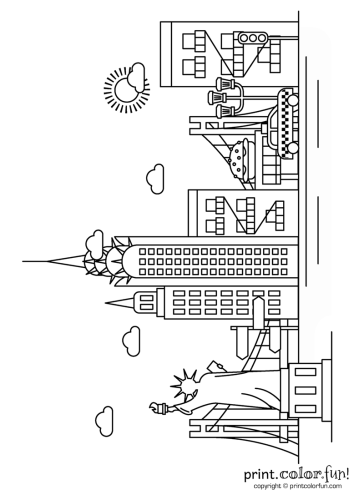 new york city coloring pages New York City skyline coloring page   Print. Color. Fun! new york city coloring pages