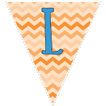 orange zig-zag party decoration flags with blue letters 12