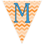 orange zig-zag party decoration flags with blue letters