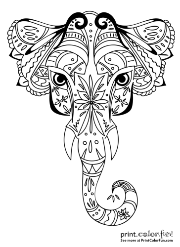 Ornamental elephant design coloring page - Print. Color. Fun!