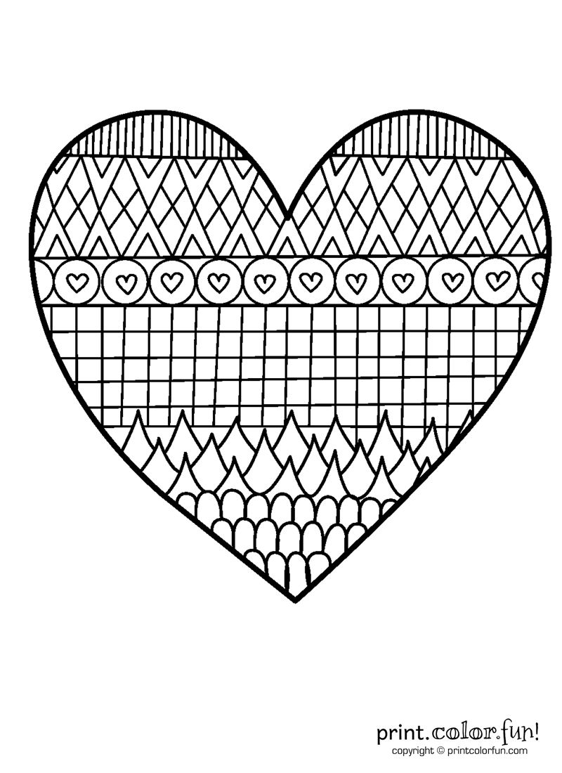 Patterned Heart Coloring Page Print Color Fun Templates To Out Hearts Patterns