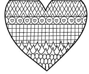 patterned heart coloring page - Print Color Page
