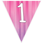 Pink-purple striped party decoration flags with white letters 11