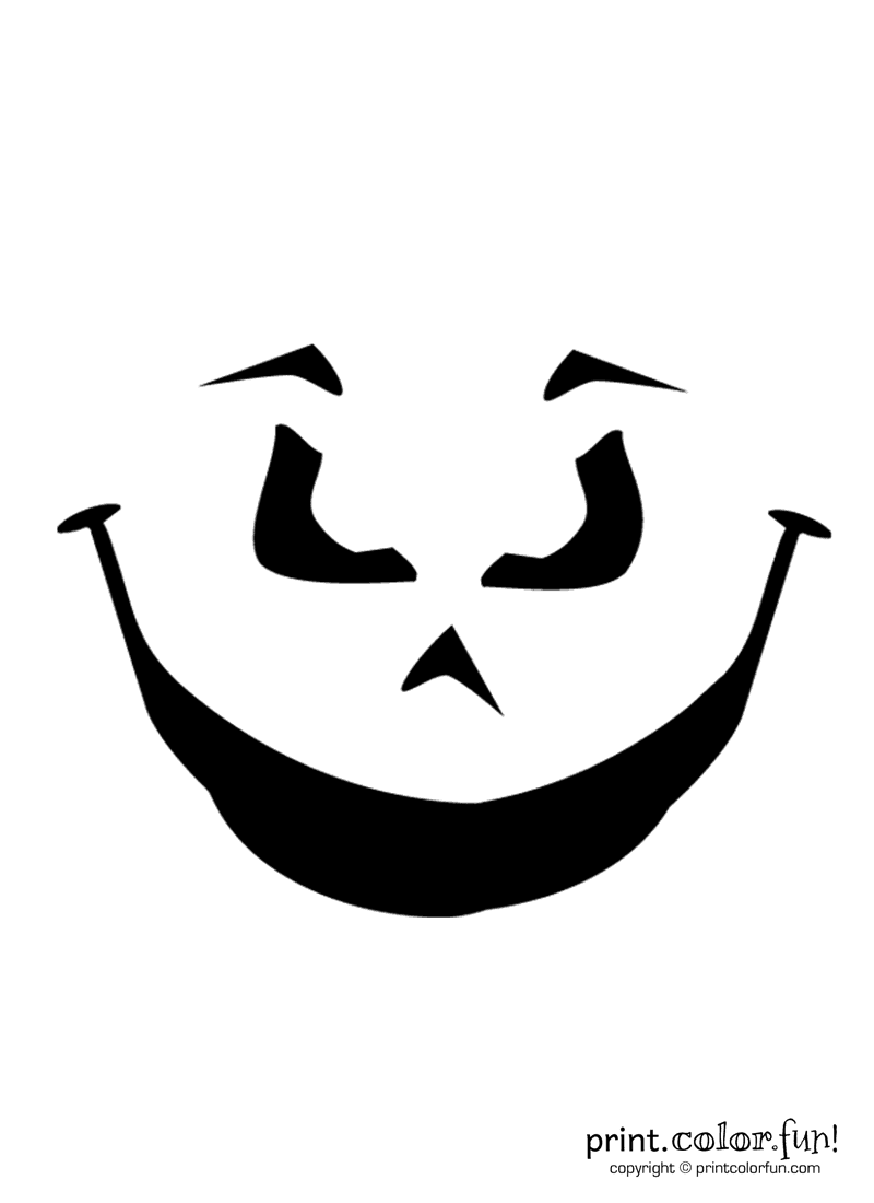 pumpkin carving stencil  evil grin coloring page