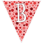 Red polka dots with white letters 2