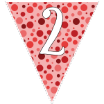 Red polka dots with white letters 128