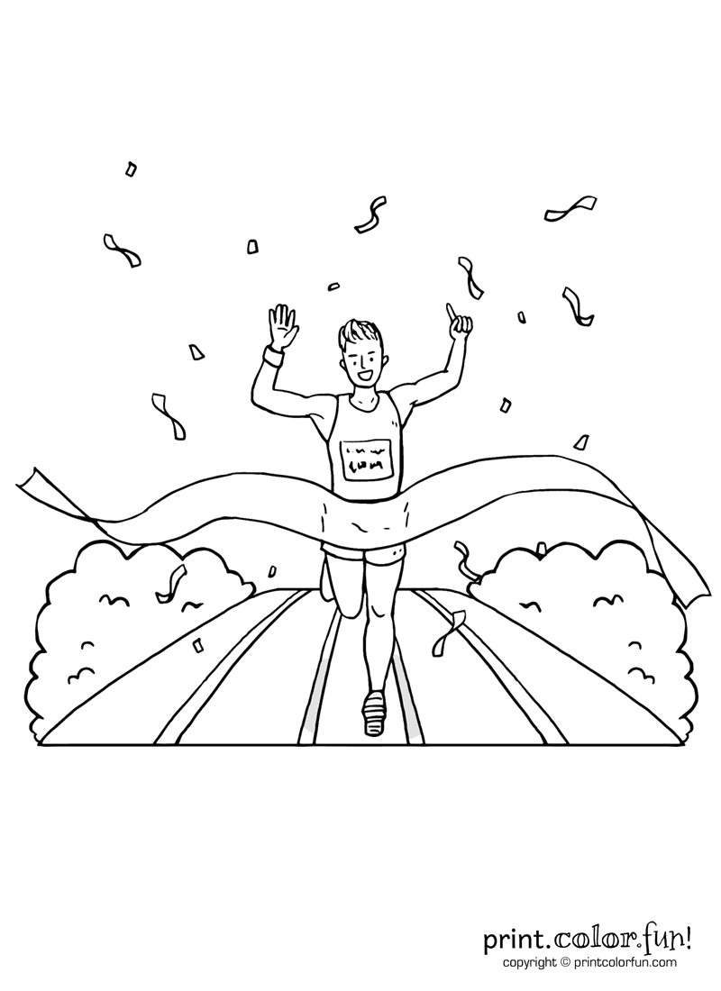 funny finished coloring book pages | Runner crossing the race finish line coloring page - Print ...