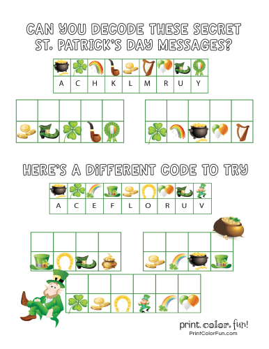 St Patrick's Day code puzzle activity