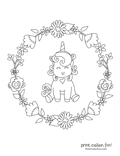 Unicorn coloring pages from PrintColorFun com (1)