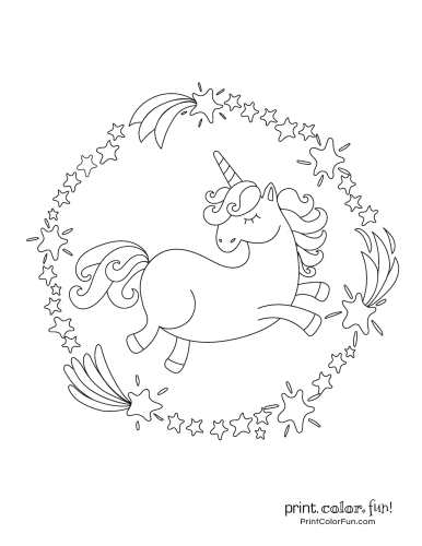 Unicorn coloring pages from PrintColorFun com (3)