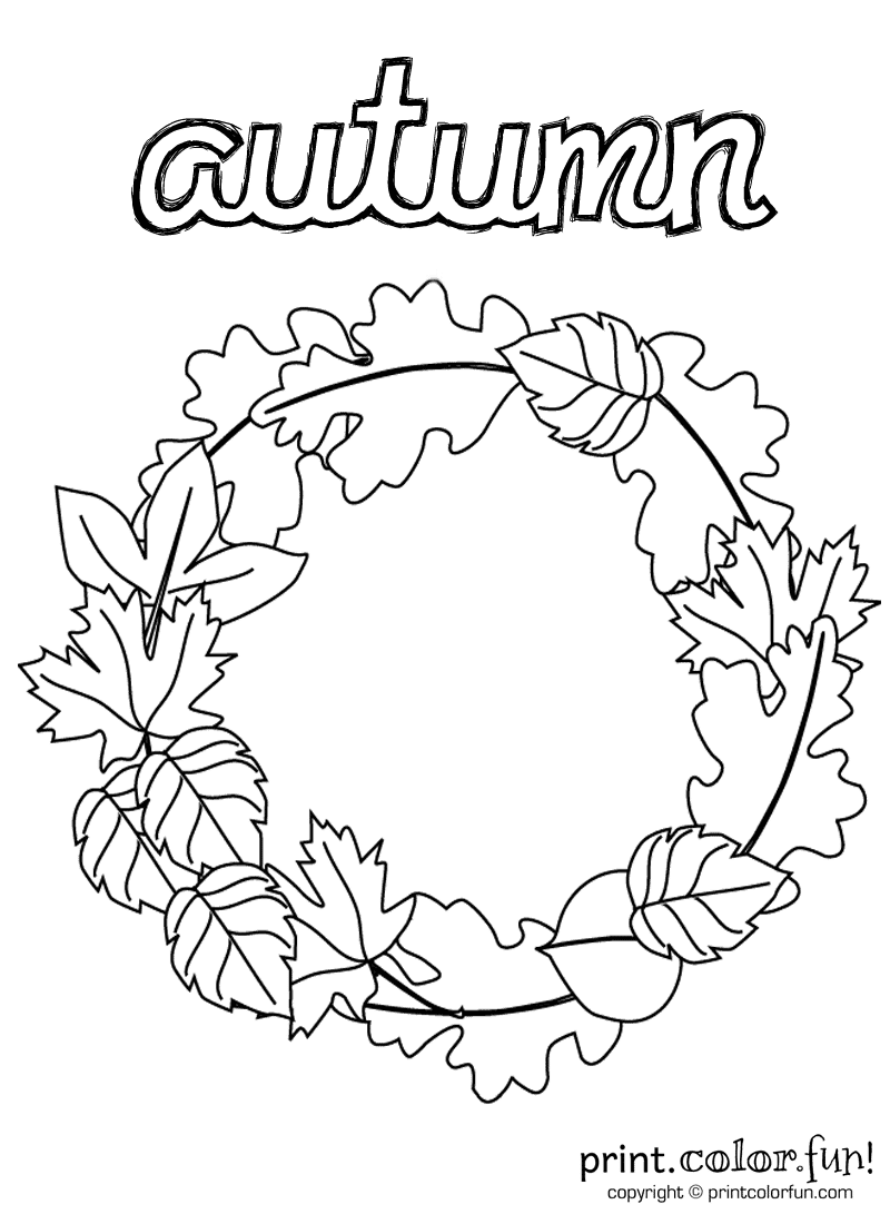 Autumn wreath coloring page Print