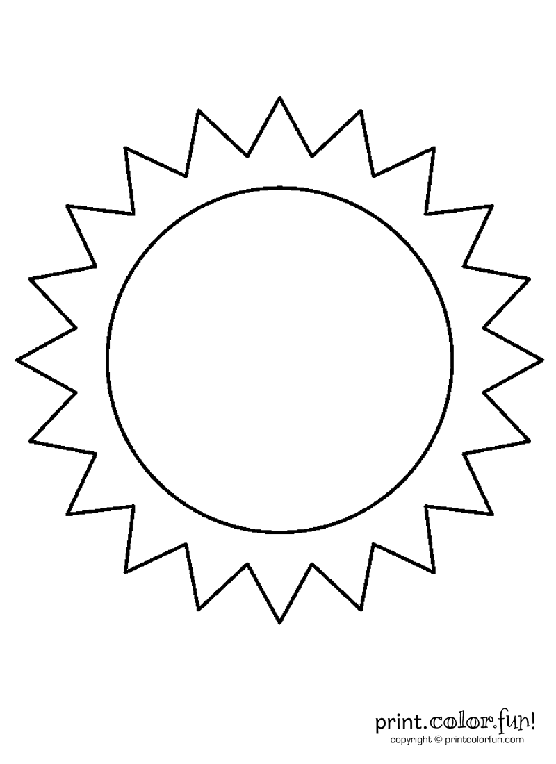 Sun coloring page Print Color Fun