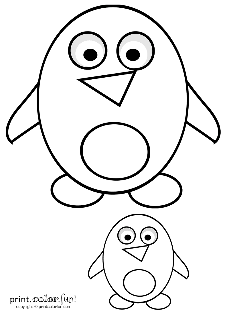 big u0026 little cute cartoon penguins coloring page print color fun