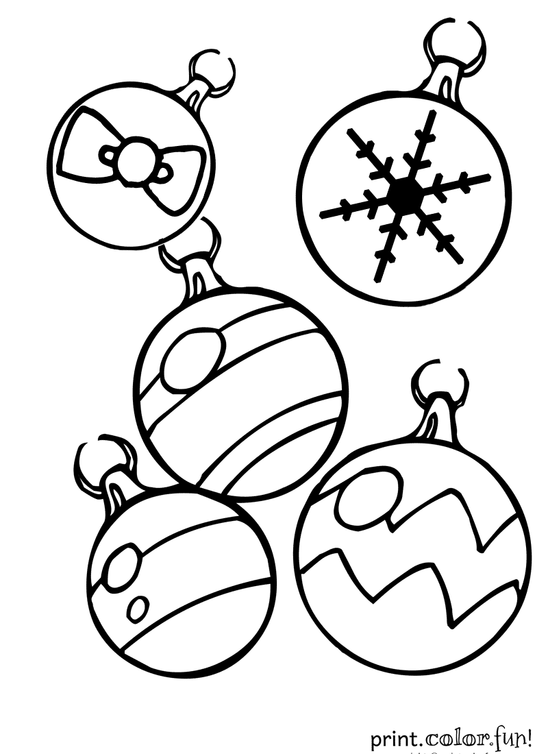 Christmas Ornaments Coloring Page