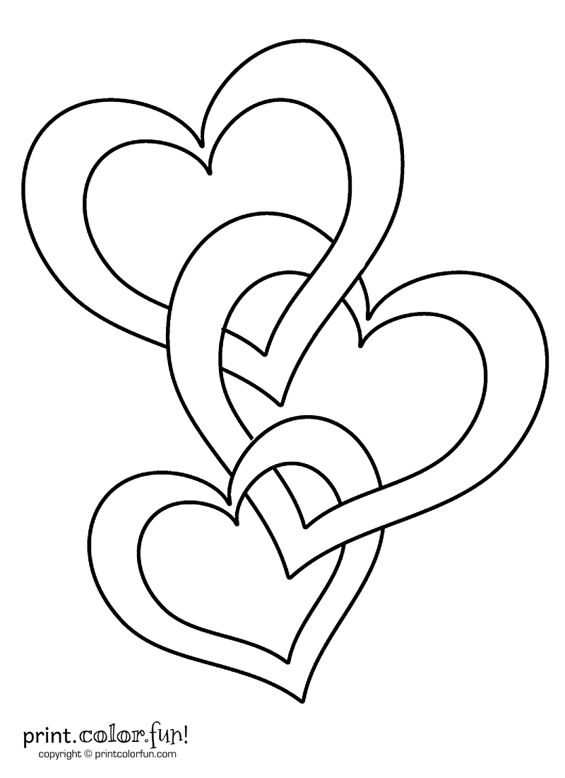 Connected hearts coloring page
